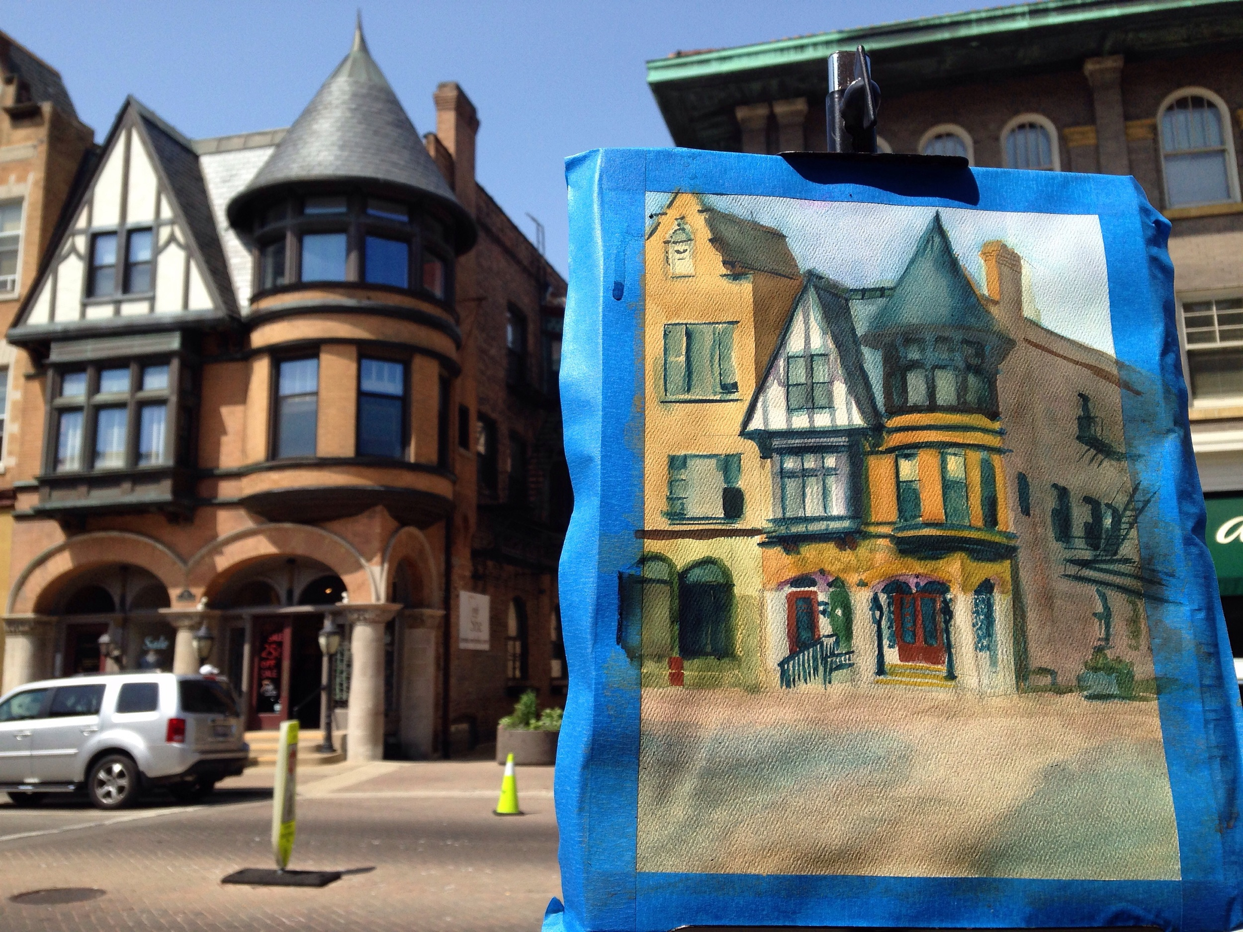 Plein air painting in Oak Park by Ted Gordon, WIP