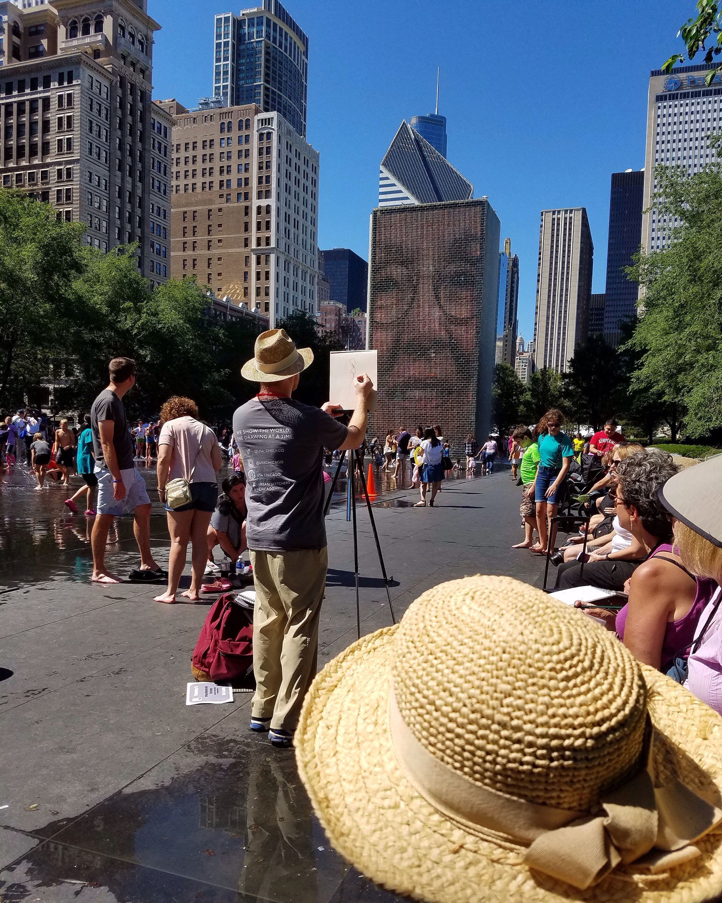 Art demo at Chicago's Crown Fountains, photo: Joann Harling Larsen