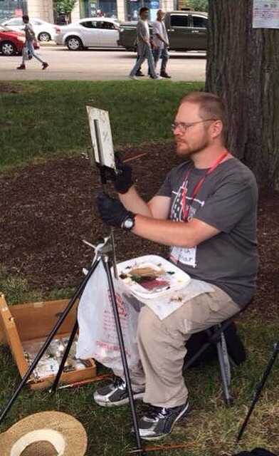 Focused on my painting during Don Yang's oil painting workshop at USK Chicago, photo: Don Yang