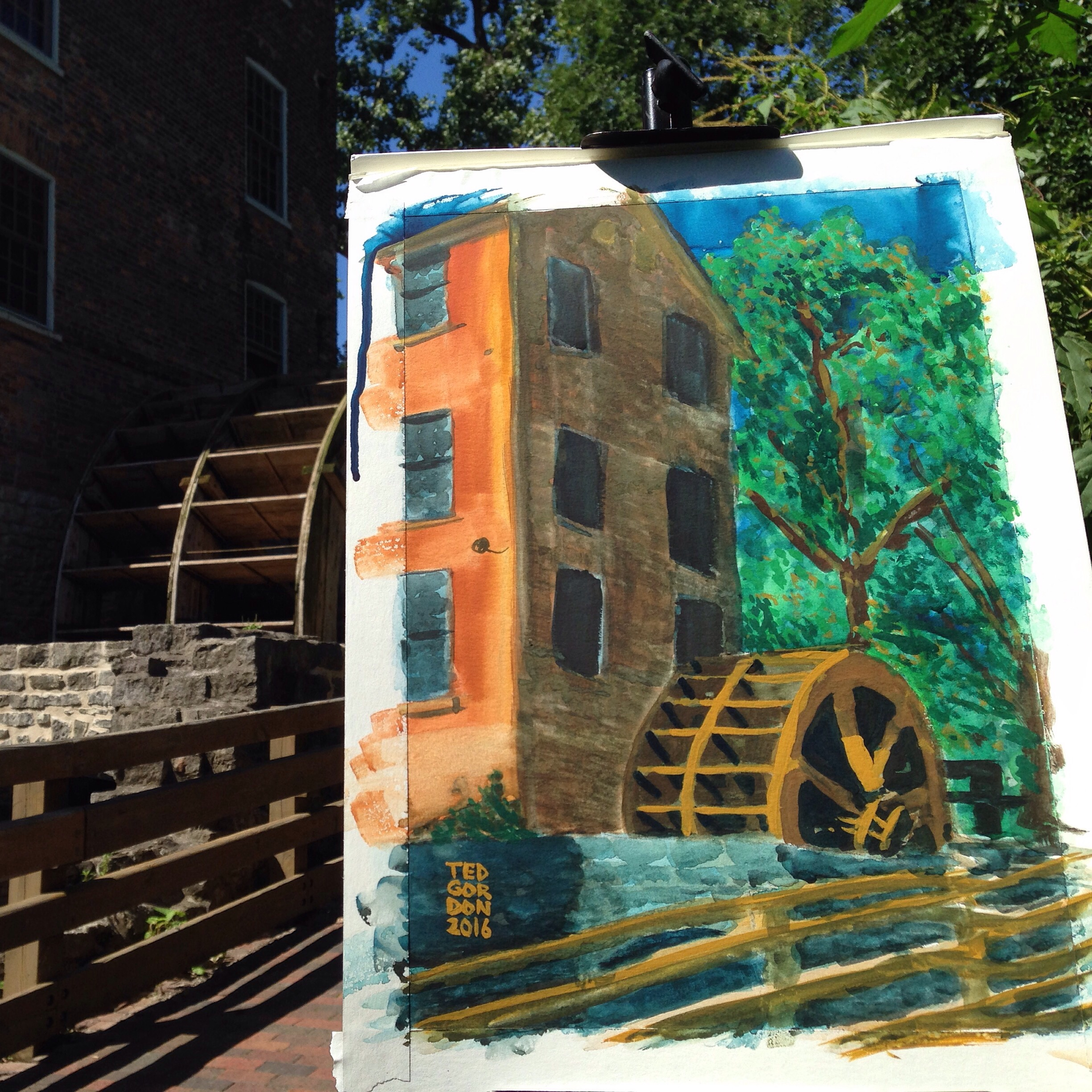 Painted this old mill in gouache this sunny morning.
