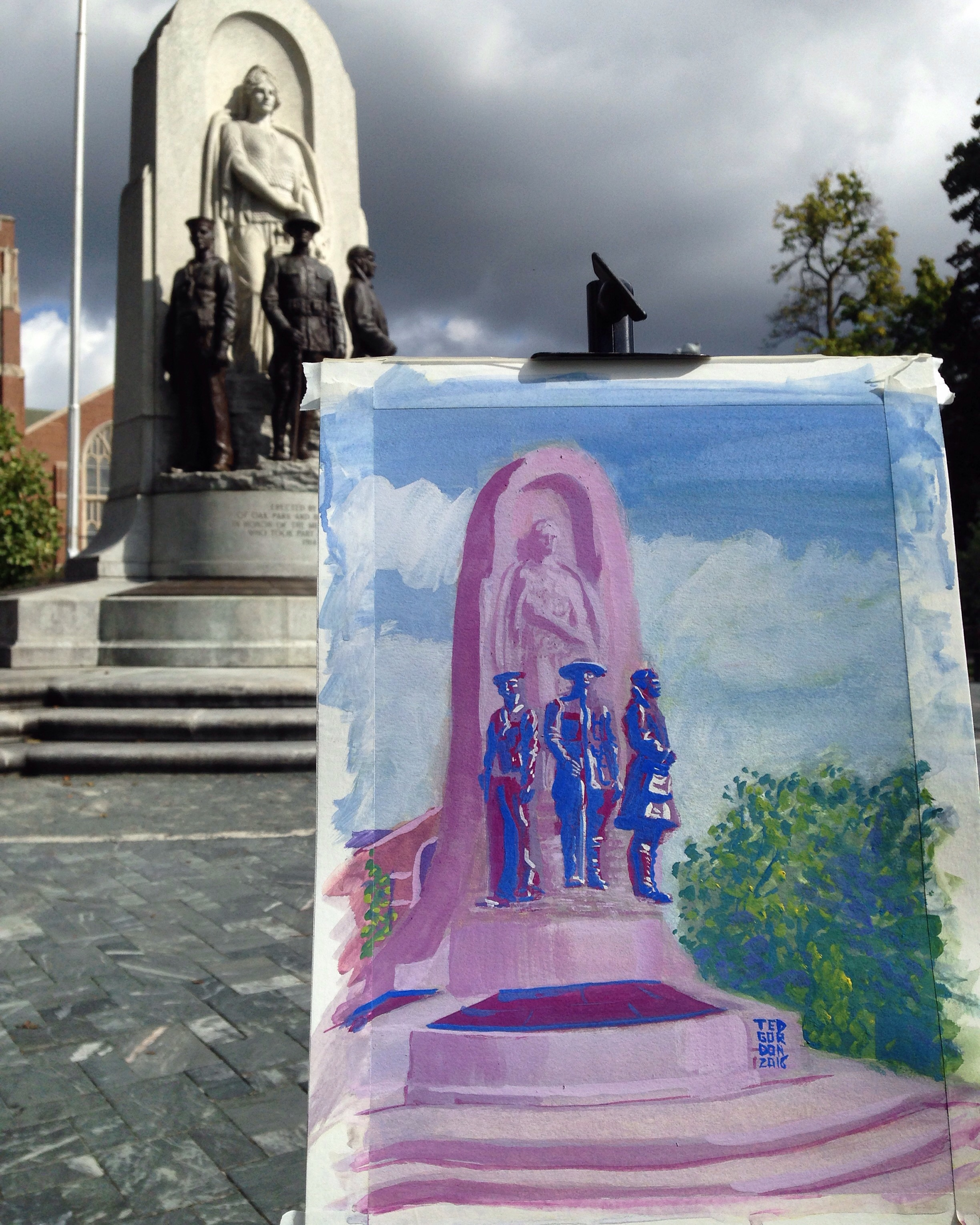 Plein air painting of WWI Memorial in Oak Park by Ted Gordon