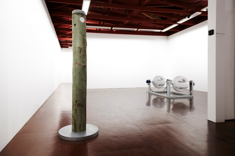 Kenzee Patterson  , installation view of    The Camden Valley Way    showing at left  White guy  (2011) and at right  El Caballa Blanco  (2011), Darren Knight Gallery, Sydney, 23 July - 20 August 2011. Courtesy the artist. Photo: Alex Reznick.