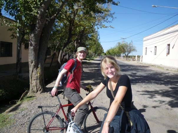 Biking around Mendoza, wine tour. Two dutch people here - Marleen in the front :)
