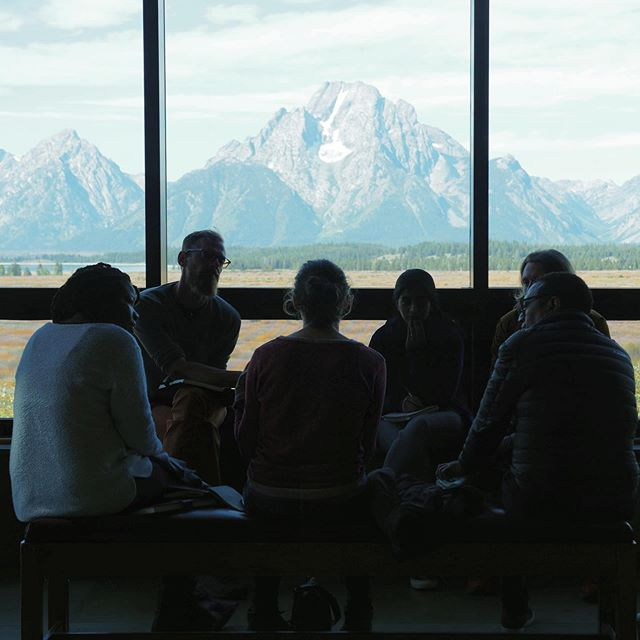 Practicing the art of the pitch  in the shadows of the Tetons during the #JacksonWild Media Lab. Thanks to @janetvissering from @natgeo & Bill Gardner from @pbs for their all-star advice. #scicomm #sciencemedia