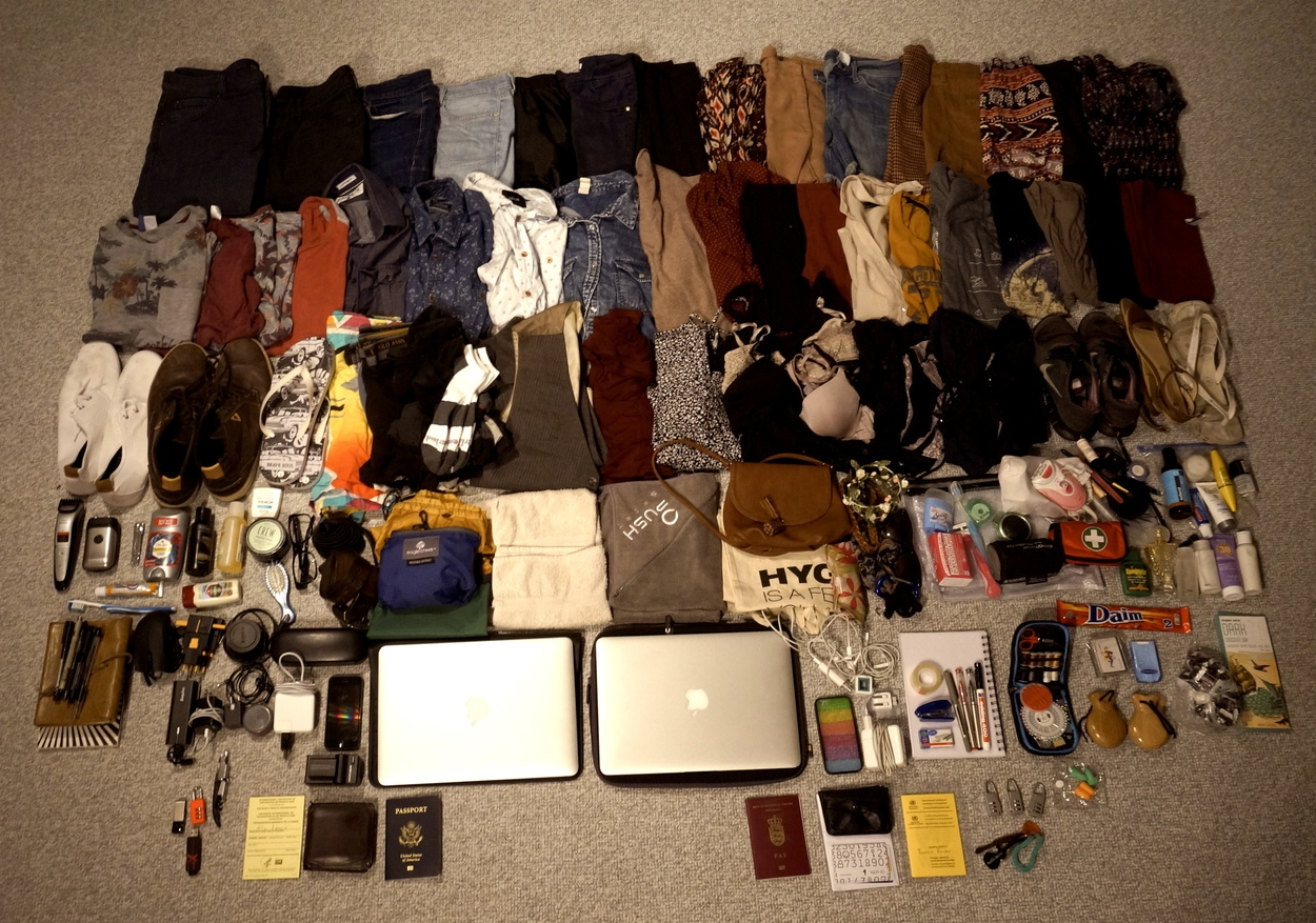 This is how both our final piles of stuff looked when we left for our infinite travels in August 2014.