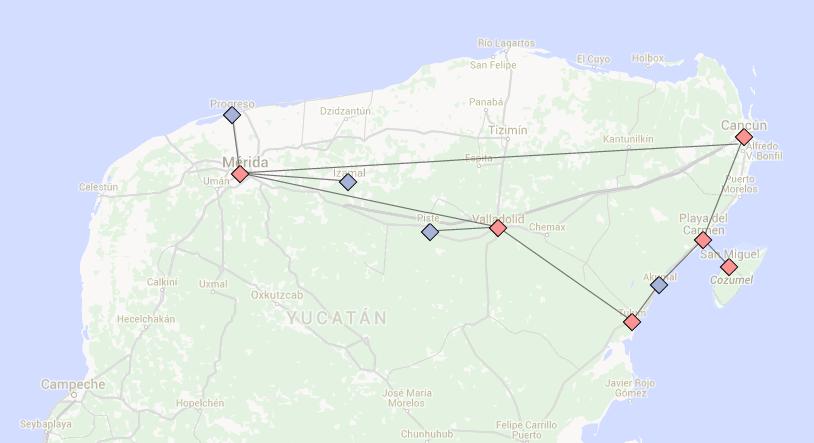 Red: Destination  Blue: Day Trip