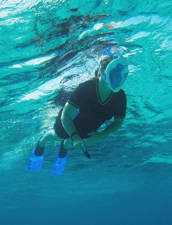 The Easybreath snorkel mask at work in Grand Cayman