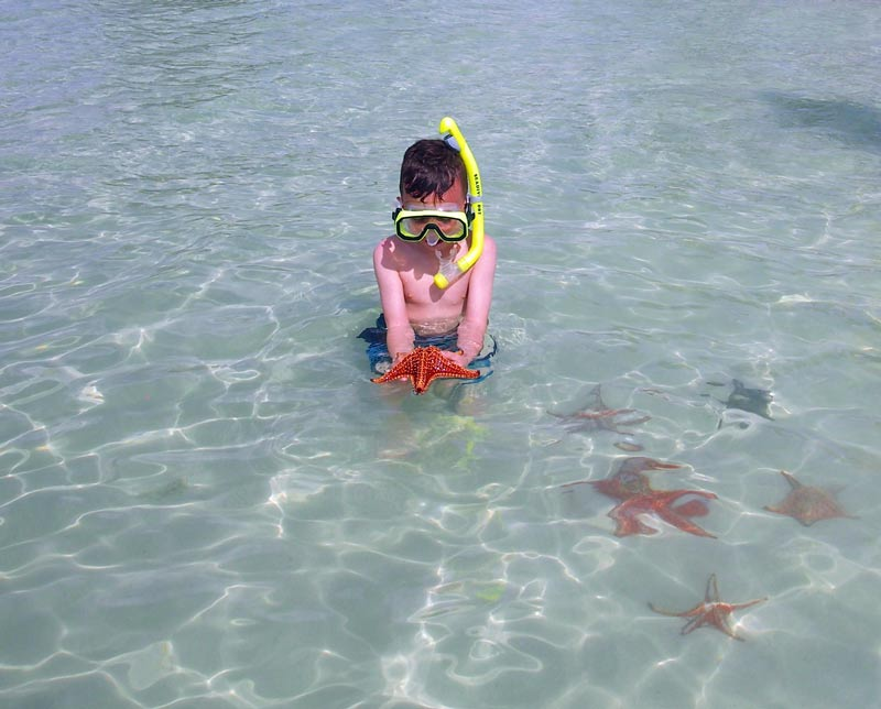 Keeping the mask on just in case ....... Starfish Point in Grand Cayman
