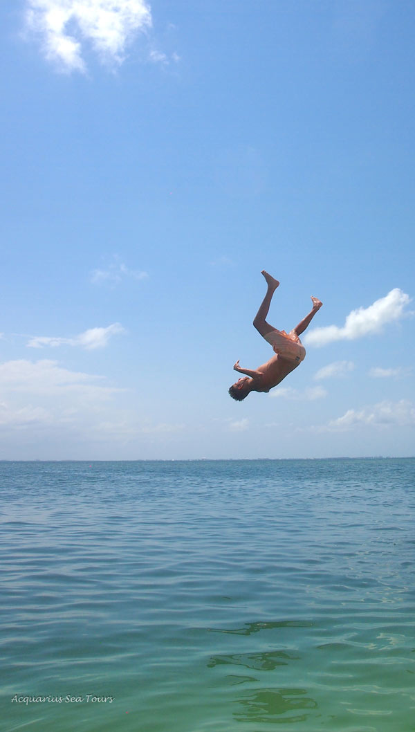 Taking the plunge - Starfish Point in Grand Cayman
