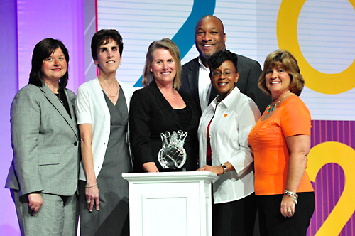 Left to right: Laura Taylor, WBENC Board Chair and Vice President, Strategic Sourcing and Procurement Operations, Pitney Bowes; Kim Brown, Vice President, General Procurement, Dell; Applause Award Winner Cyndi Hopkins, Director, Global Supplier Diversity, Dell; Brian Hall, Manager, Supplier Diversity/Outreach, Small Business Liaison Officer, Shell; Applause Award Winner Debra Stewart, Director, Supplier Diversity, Workforce Development and Diversity Outreach, Shell; Pamela Prince-Eason, President & CEO, WBENC  .