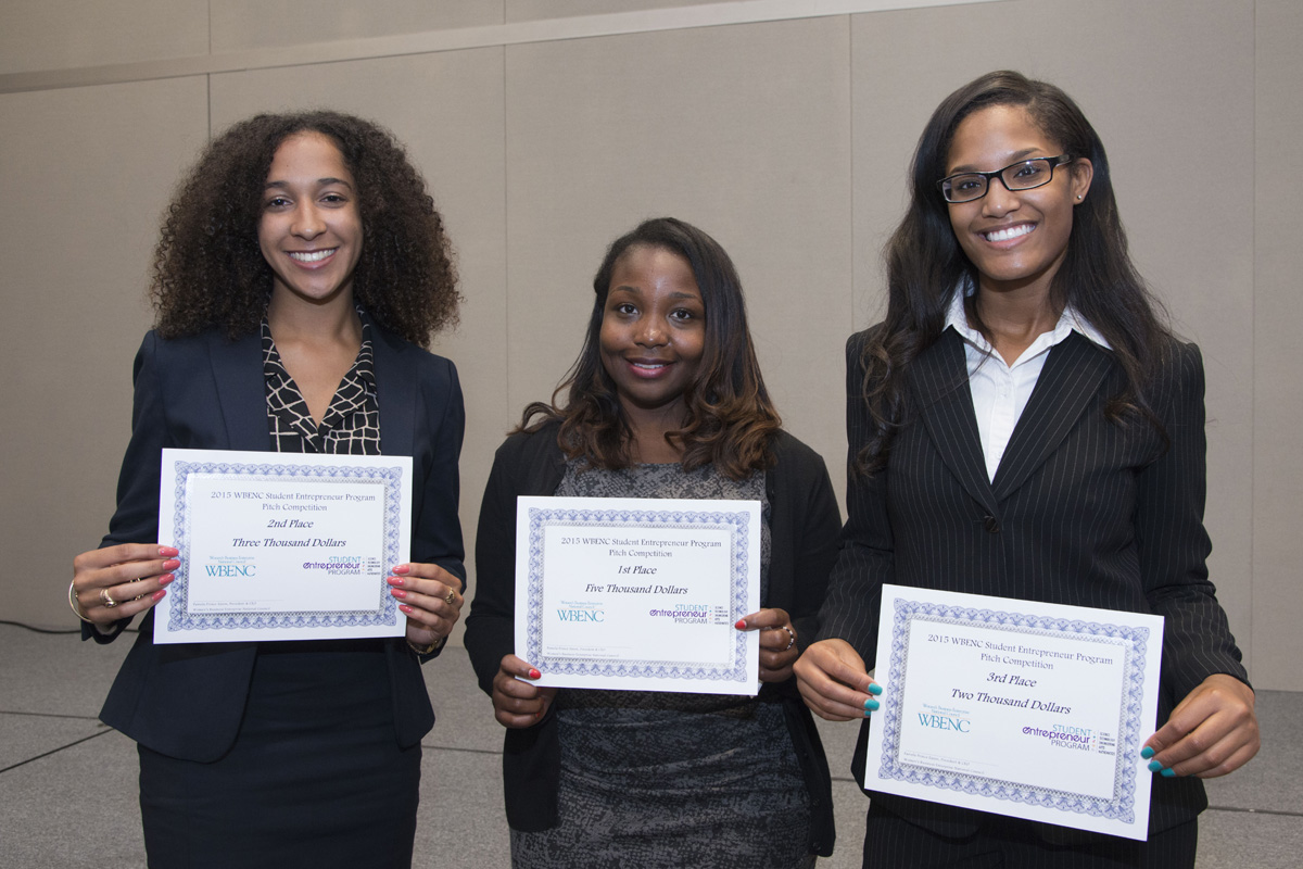 2015 SEP Pitch Competition Winner Fon Powell (center); second place finisher Jasmine Curtis (left); and third place finisher Naomi Thomas (right).