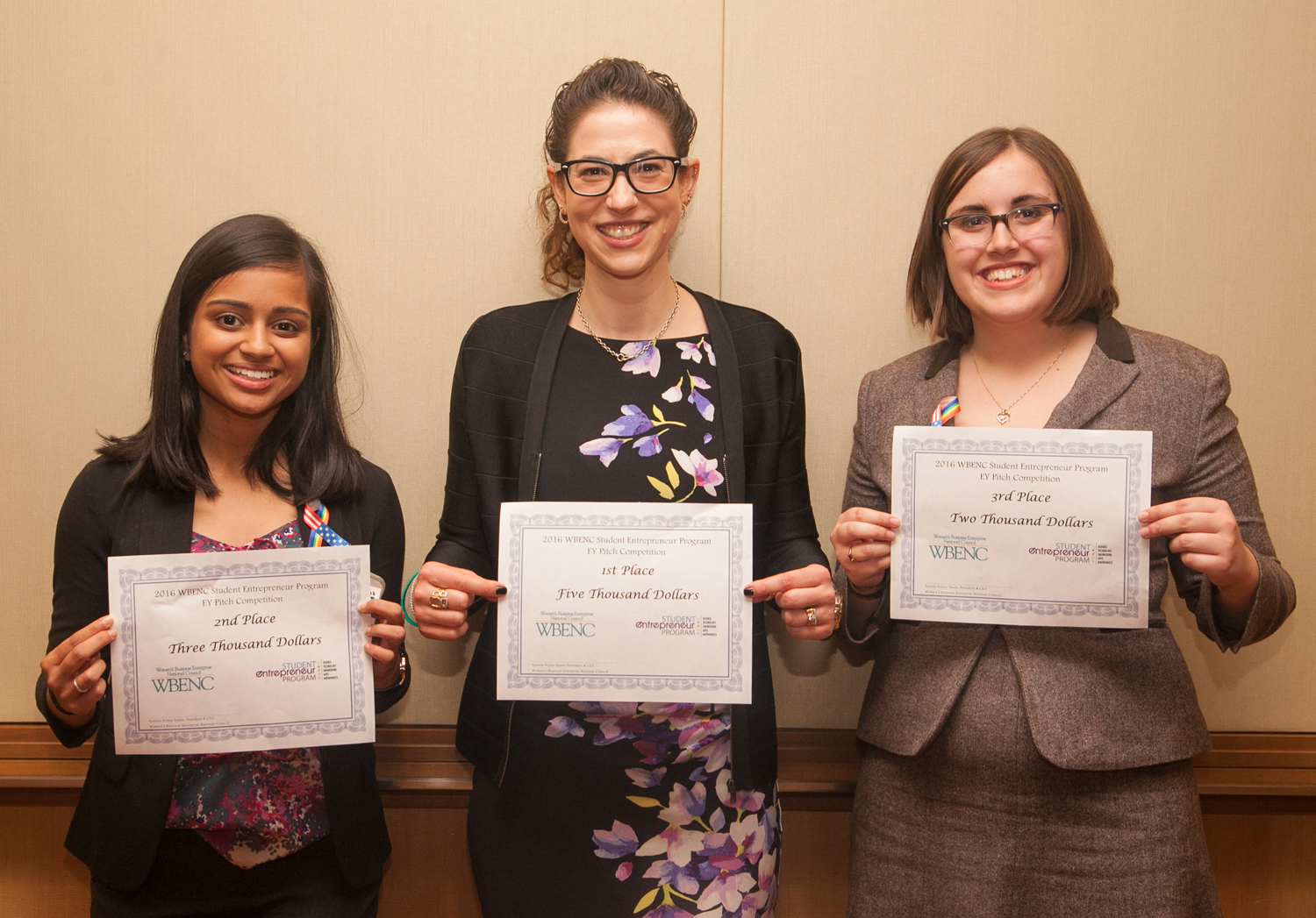 l - r: Mona Amin (2nd place); Ya-El Mandel-Portnoy (1st place) and Emily Bocchino (3rd place)