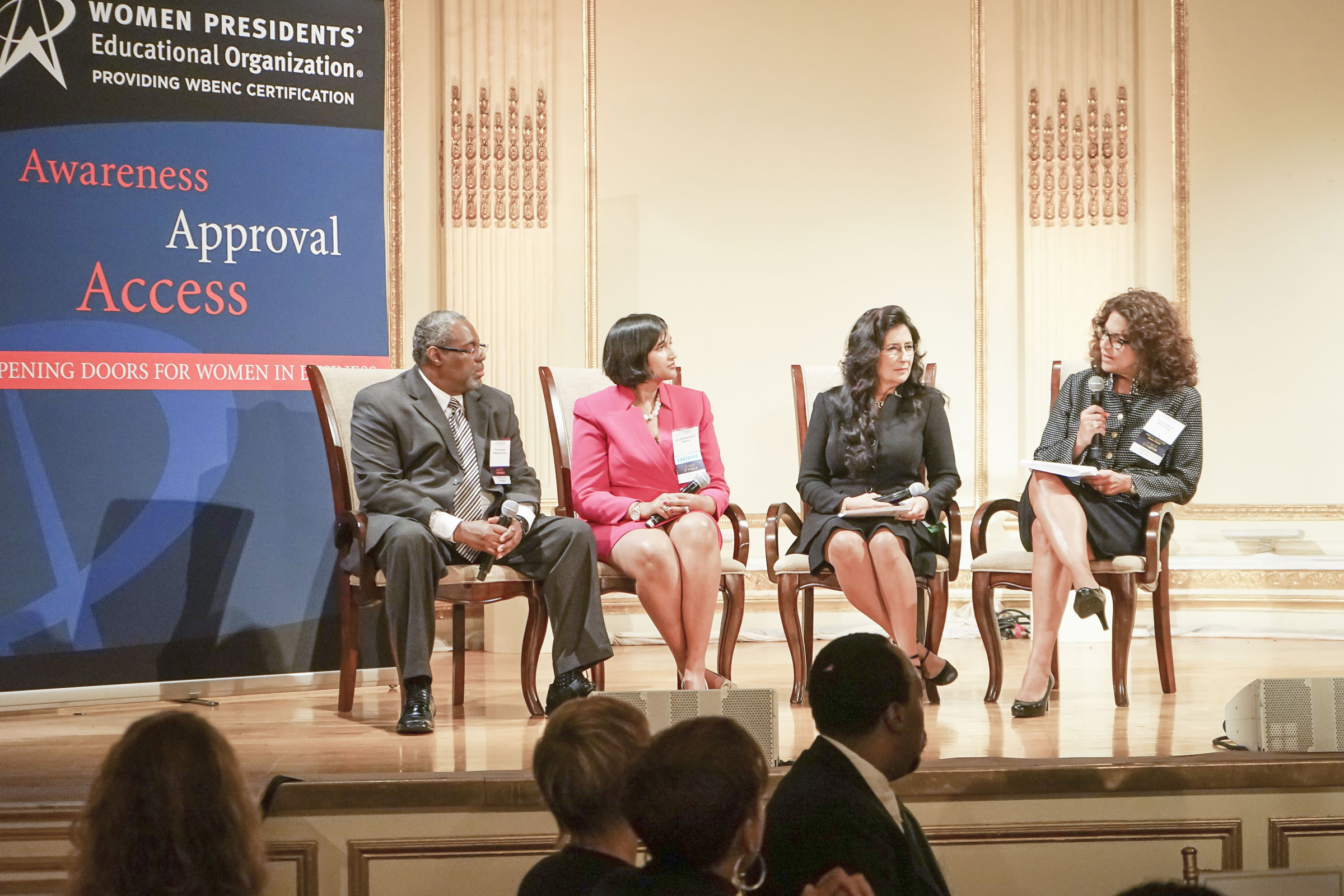 Looking to the future panelists and moderator– Pictured left to right: Floyd Conway, Supplier Diversity Director, Interpublic Group; Ann Ramakumaran, Founder and CEO, Ampcus; Lynn A. Boccio, Esq., Vice President, Strategic Business & Diversity Relations, Avis Budget Group, Inc.; Lucia DiNapoli Gibbons, Head of Eastern Business Banking, Wells Fargo (moderator)
