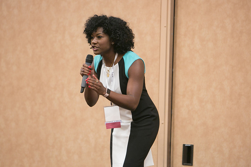 Isis Ashford pitches Xplosion at the 2017 WBENC SEP pitch day competition.