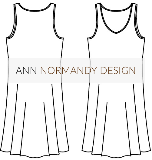 Pick a pattern with clean lines and few details, such as the Ann Normandy Design Slip Dress PDF Sewing Pattern. Two pattern pieces, with no darts or closures.