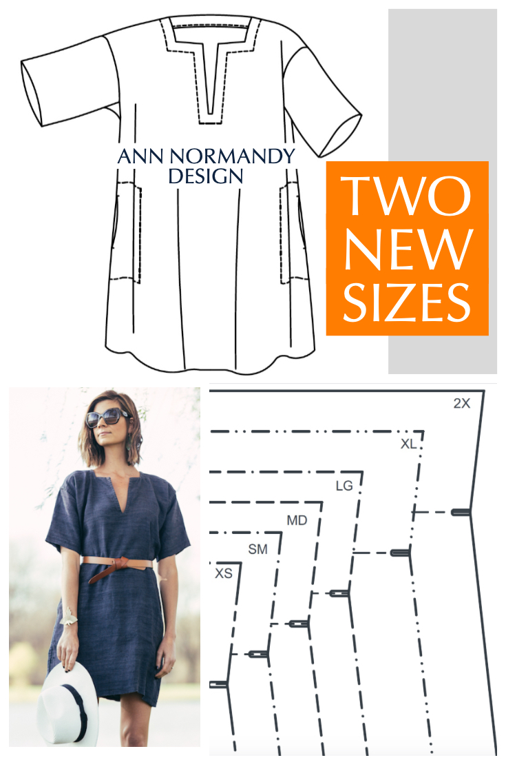 Ann Normandy Design's Short Sleeved Tunic Dress PDF sewing pattern is now available in sizes extra small - 2X.