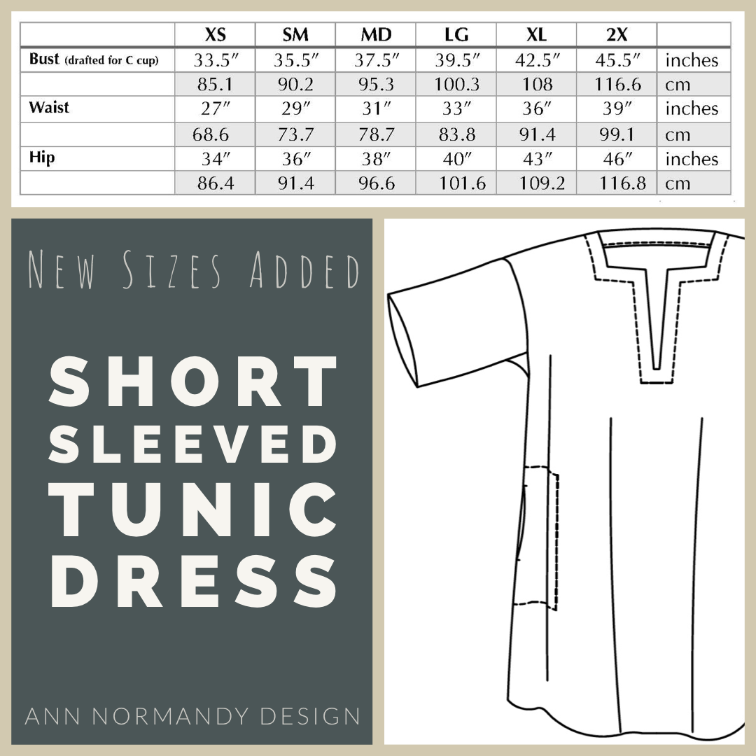 Two new sizes added to the Short Sleeved Tunic Dress sewing pattern by Ann Normandy Design