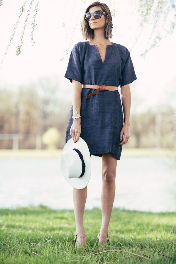 Dana Frost wearing Ann Normandy Design's Short Sleeved Tunic Dress created with reclaimed antique handwoven linen.