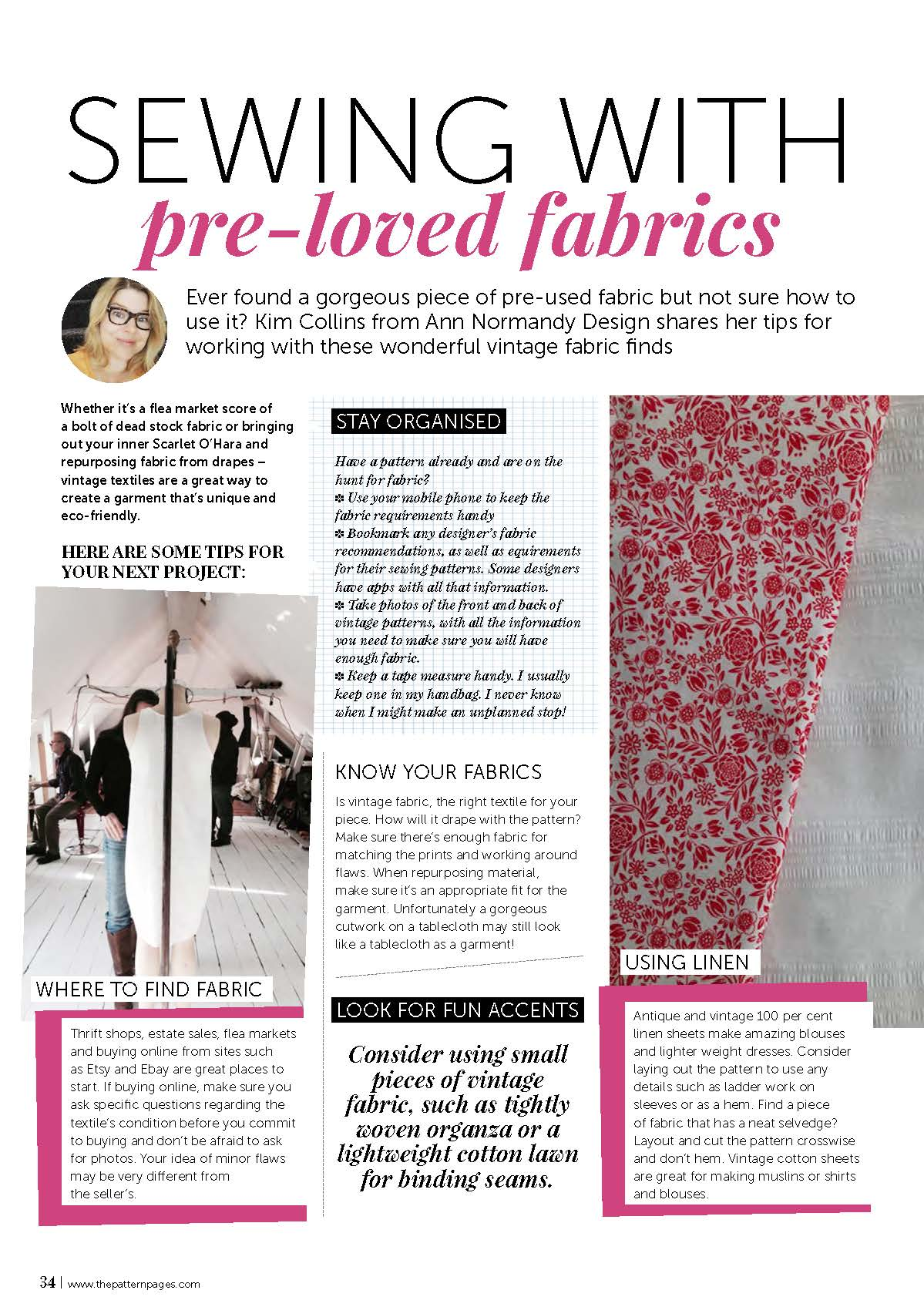 The Pattern Pages article with tips on sustainable sewing with reclaimed fabrics.