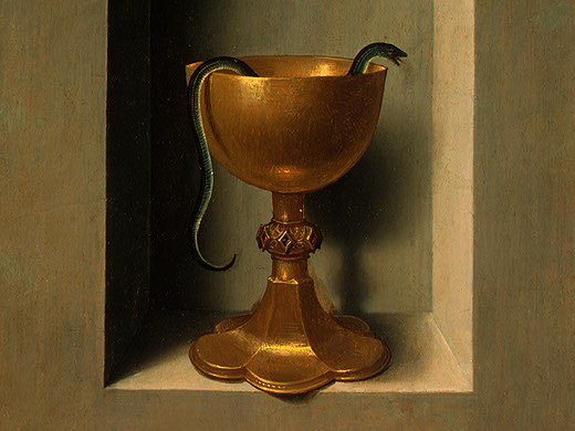 Hans Memling,  Chalice of Saint John the Evangelist  (1470-75). The direct reference is to the legend that Saint John was given a chalice filled with poison, which departed in the form of a serpent after he blessed it. Until half a century ago, on the Feast of Saint John, some Europeans would bring wine to church to be blessed. Of course, there's no reason to think the original event did not occur, but the true force of the story clearly lies in its dramatizing the mystery John presents in chapter 3 of his gospel.