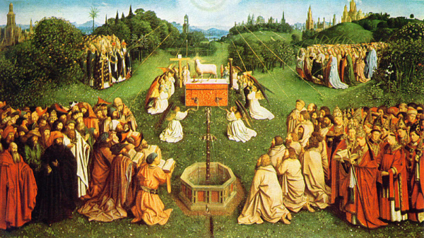 """Hubert and Jan van Eyck, """"The Adoration of the Mystic Lamb,"""" the lower register of the central panel from the Ghent Altarpiece (1432)"""