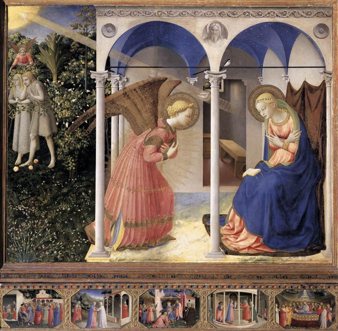 Fra Angelico , Annunciation  from the Prado Altarpiece (1430-32)