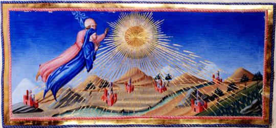 Giovanni di Paolo, Paradiso Canto 10.40 Dante and Beatrice Ascend to the Heaven of the Sun (c.1450)