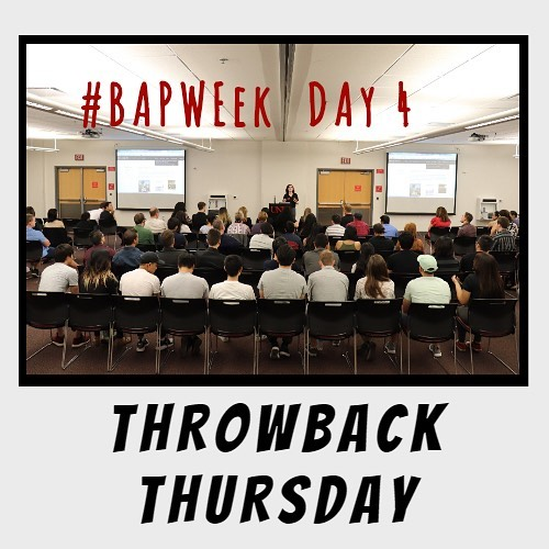 Day 4 of #BAPWeek is Throwback Thursday!  Throwback to Hannah Keena, our Fall 2018 BAP President, presenting at last semesters BAP 101! Don't forget, if you are a new BAP candidate, you must attend BAP 101 this Saturday. Keep an eye out for your BAP acceptance and more BAP 101 details getting sent to your emails this week. Share your favorite Throwback Thursday picture to social@unlvbap.org or tag us and a winner will be chosen for next week's Throwback Thursday.