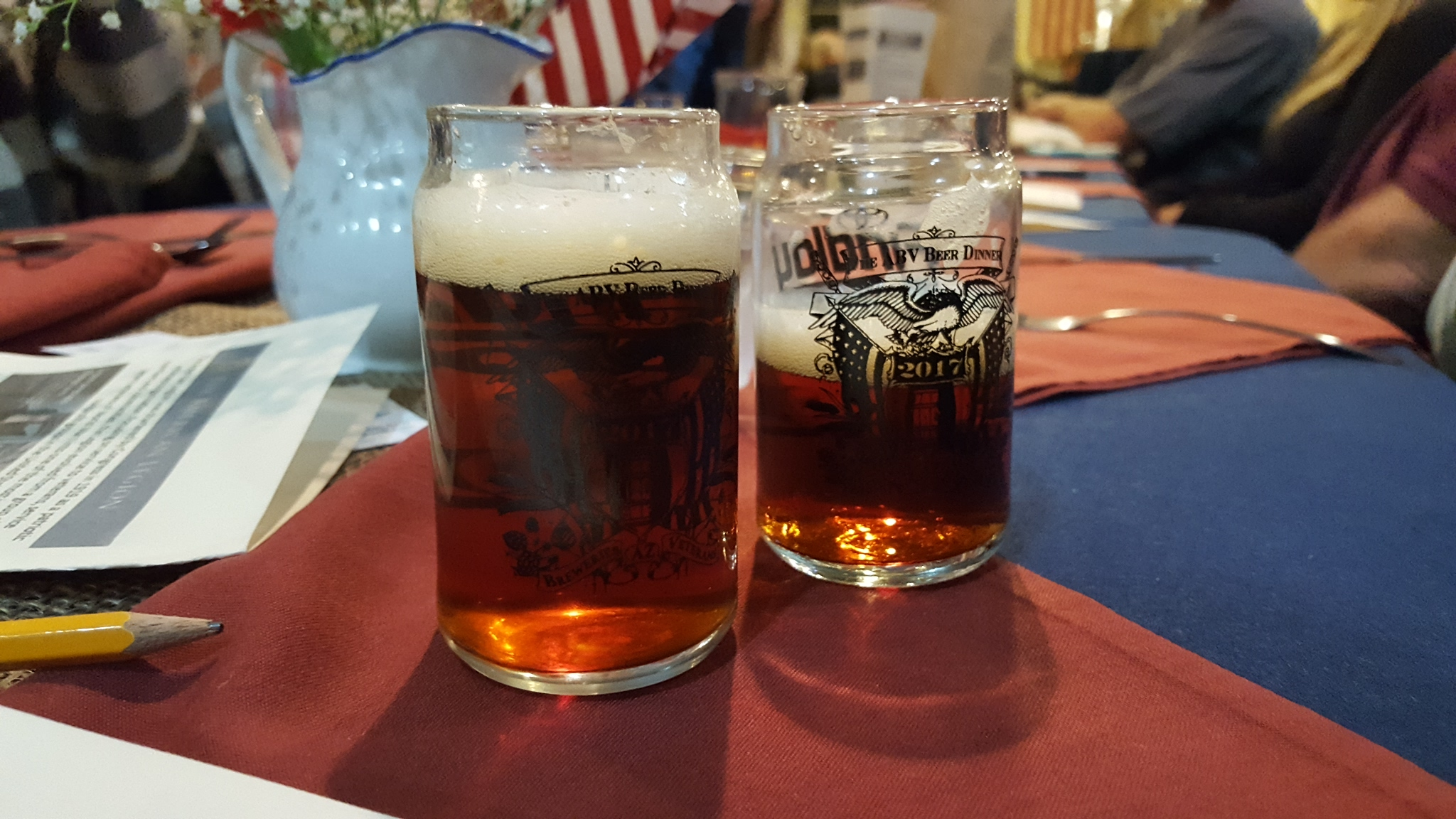 Beer pairings accompanied each course.