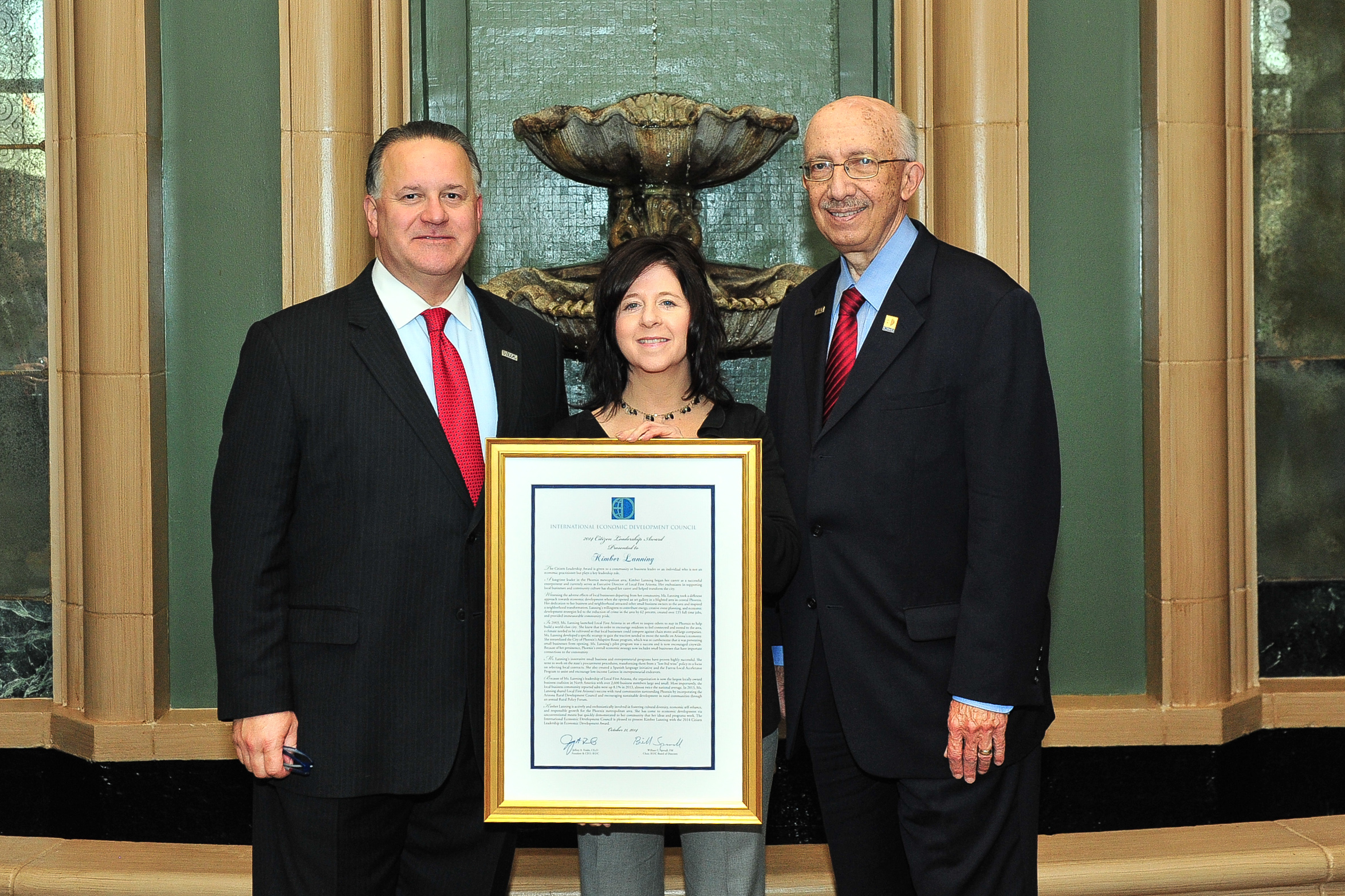 Kimber was named Citizen Leader of the Year by the International Economic Development Council in 2014.