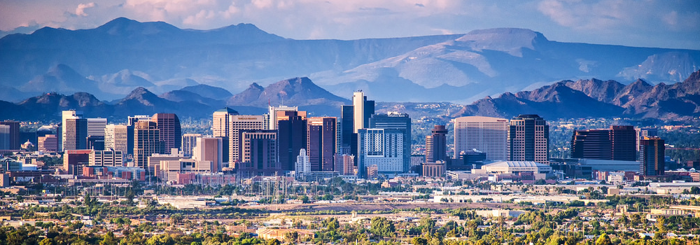 """Phoenix skyline featuring downtown and midtown """"skyscrapers"""""""