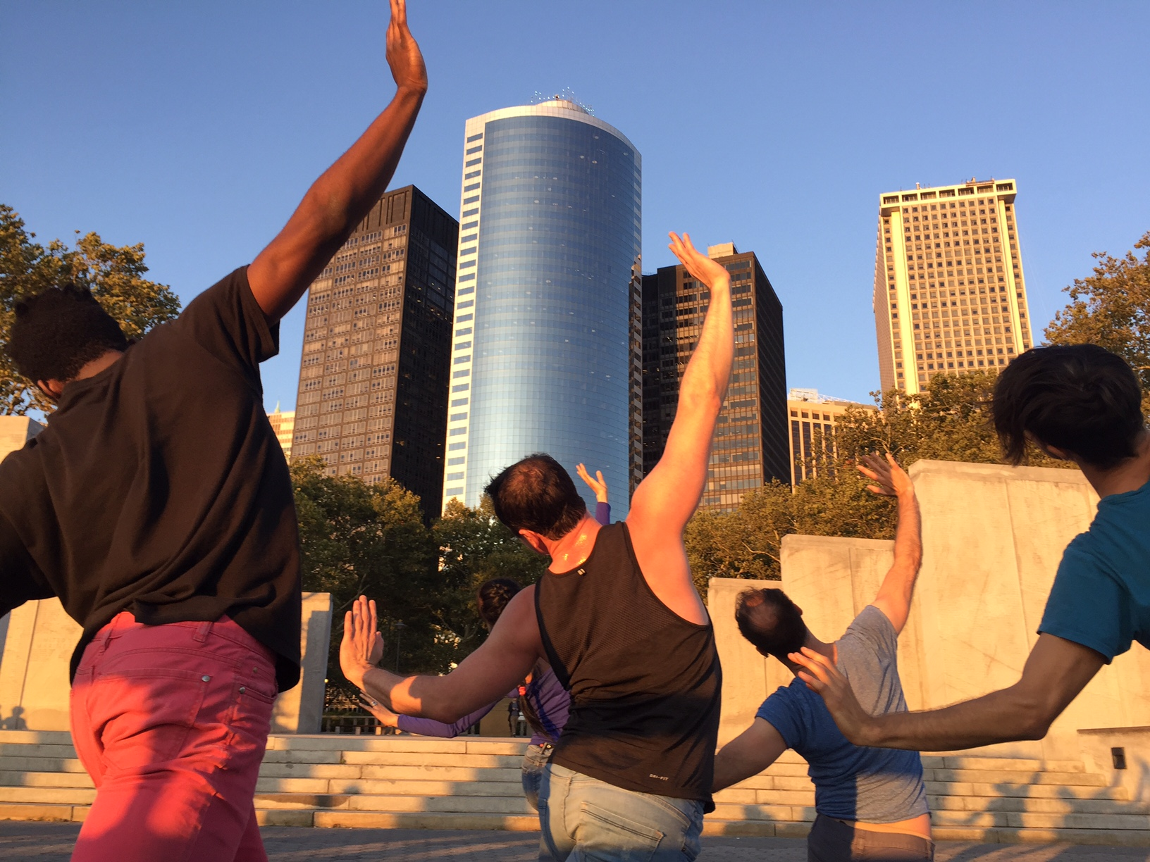 Vain Combat  at Battery Park, NYC, September, 2017; Dancers L to R: Dare Ayorinde, Jake Szczypek, Christopher Williams, Timothy Ward. Photo by Grazia Della -Terza, 2018