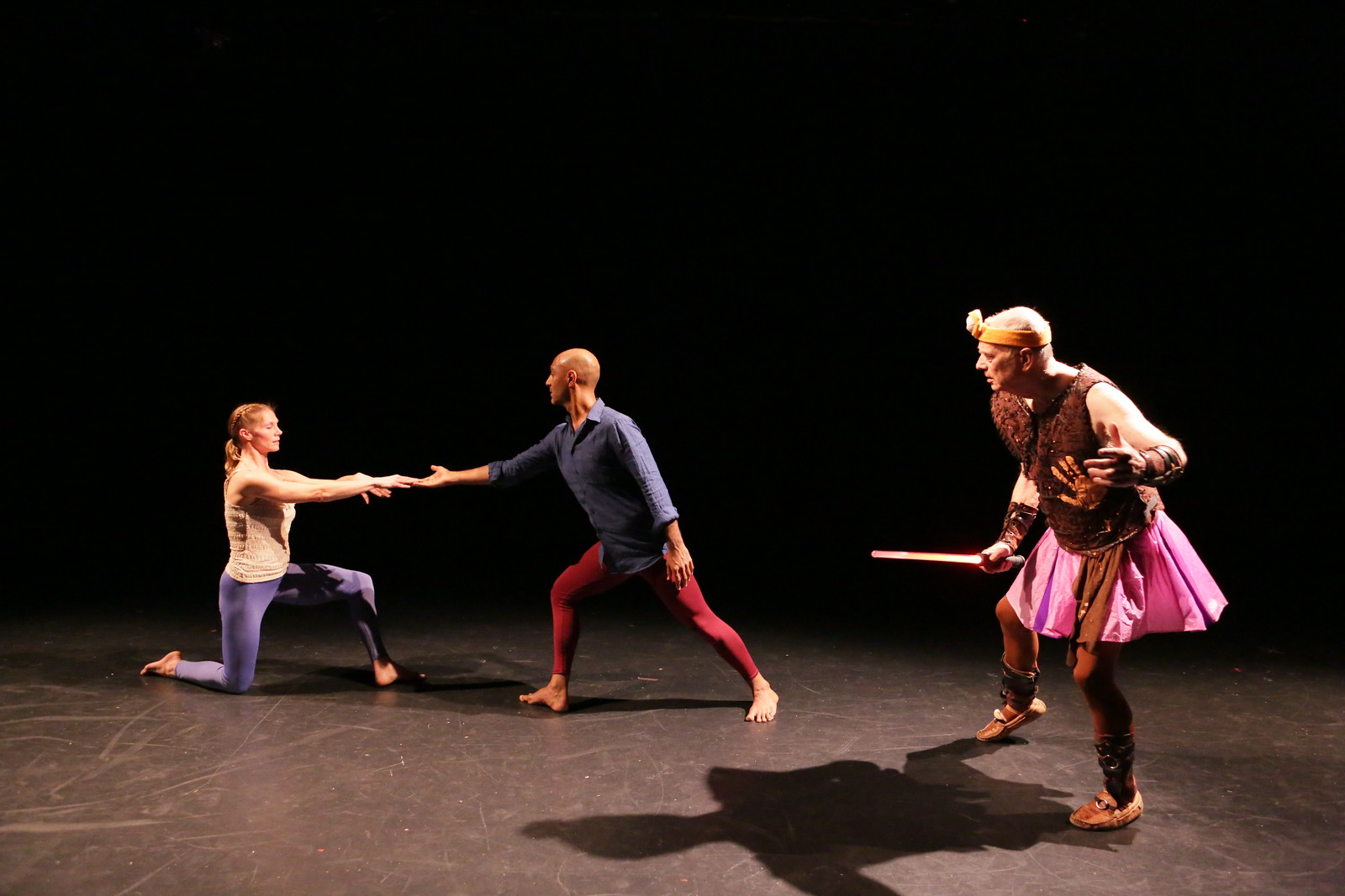 Dancers L to R: Emily Pope, Paul Singh and Douglas Dunn.  Oh Acis  at Dixon Place, 8 in Show, Photo by Peter Yesley, 2017.