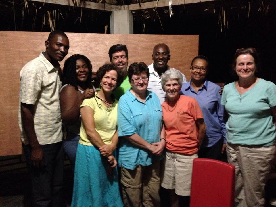 Left to right:  MPP Engineer;  Myriame Jean Pierre, ACG Translator; Front:  Becky Evans, NDPC;  Wendy Flick, UUSC Haiti Project Leader;  Joan Edgerton, NDPC; Back:  Pat Murphy, NDPC;  Chavannes Jean-Baptiste, Director of MPP;  Maxine Neil, Director of UUSC Institutional Advancement; Kathryn Hornsby, Emory Presbyterian. (Not Pictured:  Eddie Ramos, Good Shepherd Presbyterian.)