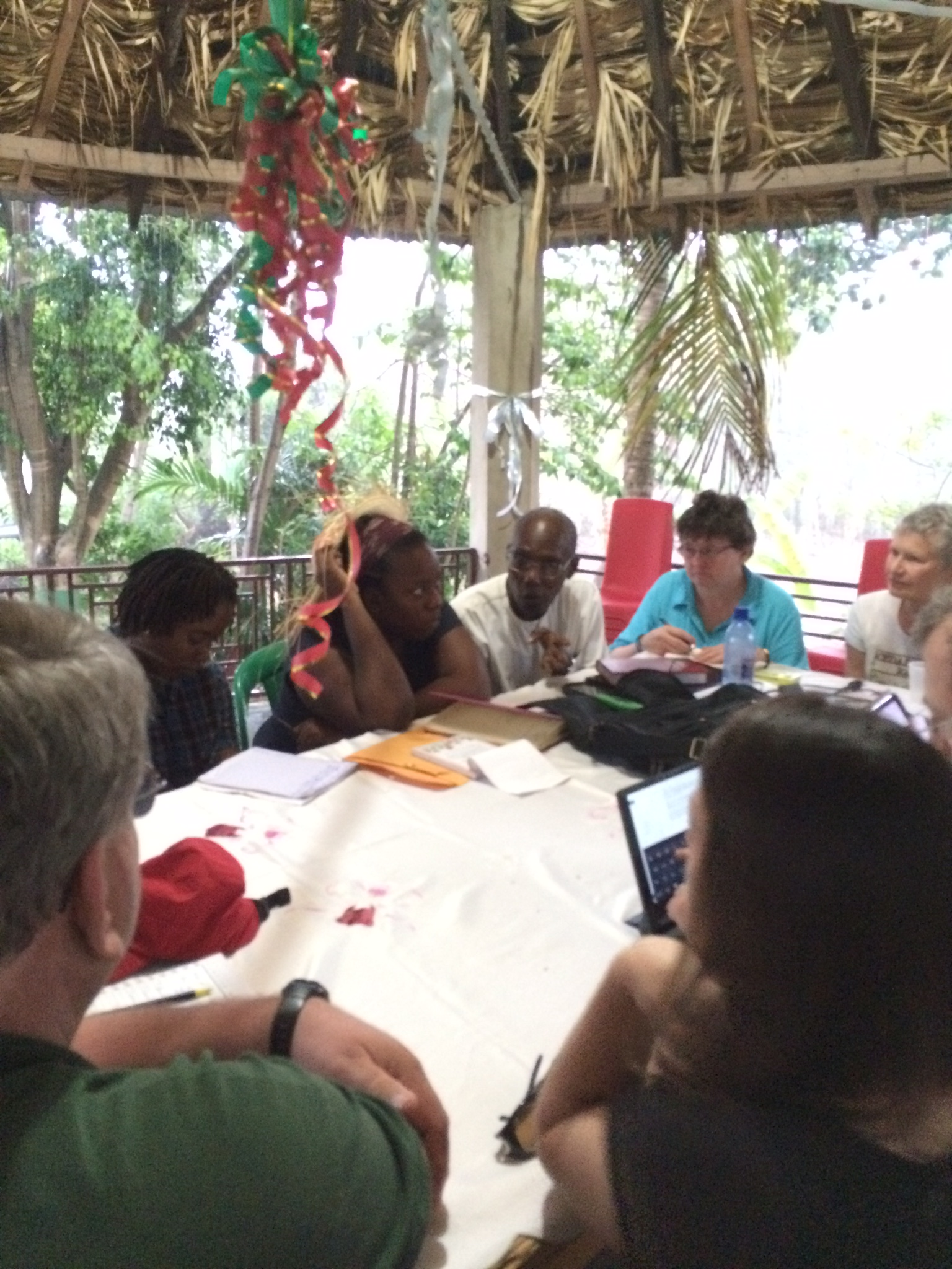 Meeting with MPP executive director Chavannes Jean-Baptiste in his gazebo during a serious downpour! We had to gather in close to hear him...