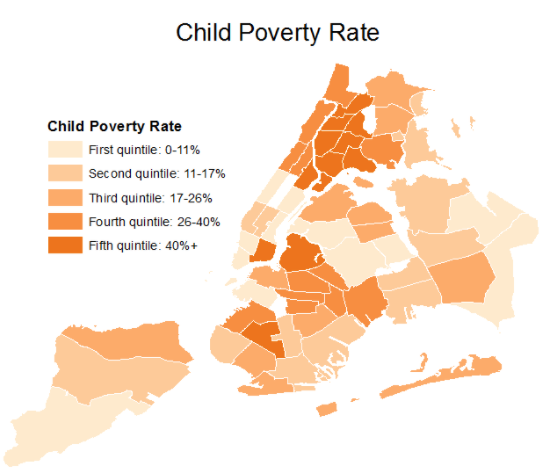 - As these maps show, there is significant overlap in concentration of child poverty and of Black and Latino residents. However, each factor correlates with investigation rates even when controlling for the other factor.