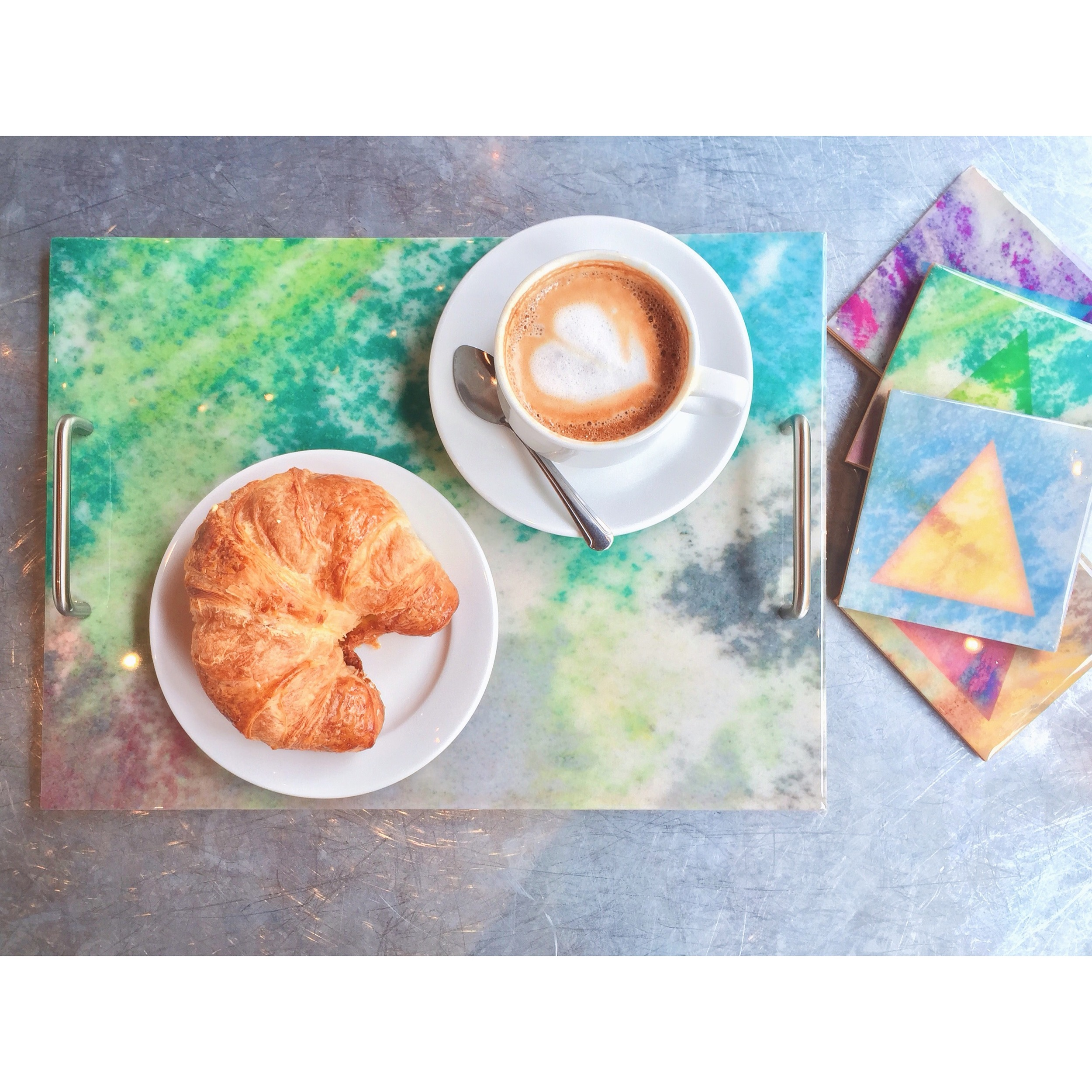 Post Studio Green Pastel Tray and Coasters.JPG