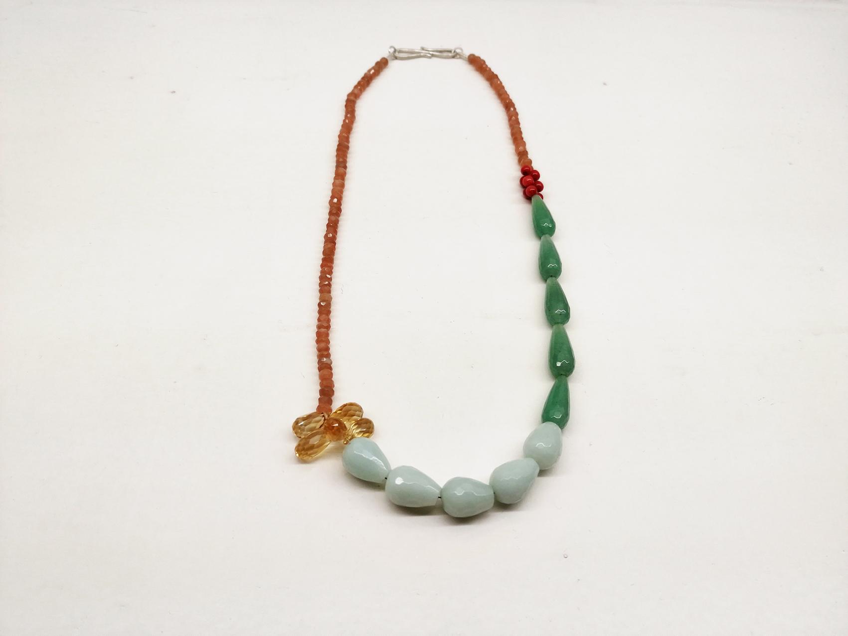 Tarantella  Mondstein, Korall, Jade, Citri, Prenhit, Silber 925/-