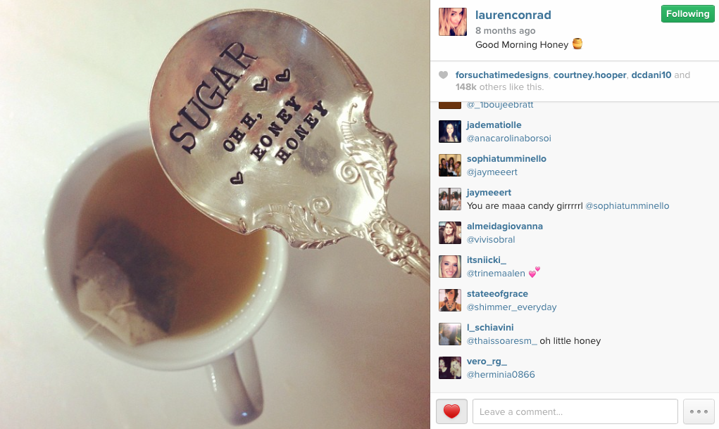 For Such A Time Designs featured on celebrity Lauren Conrad's Personal Instagram November 2013.