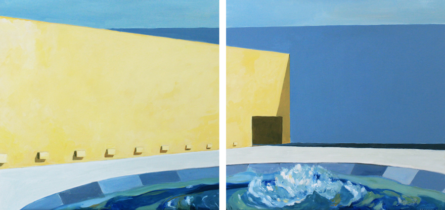 "Camino Real Hotel IV and V , 2014, Acrylic on canvas, 24"" x 48"", private collection"