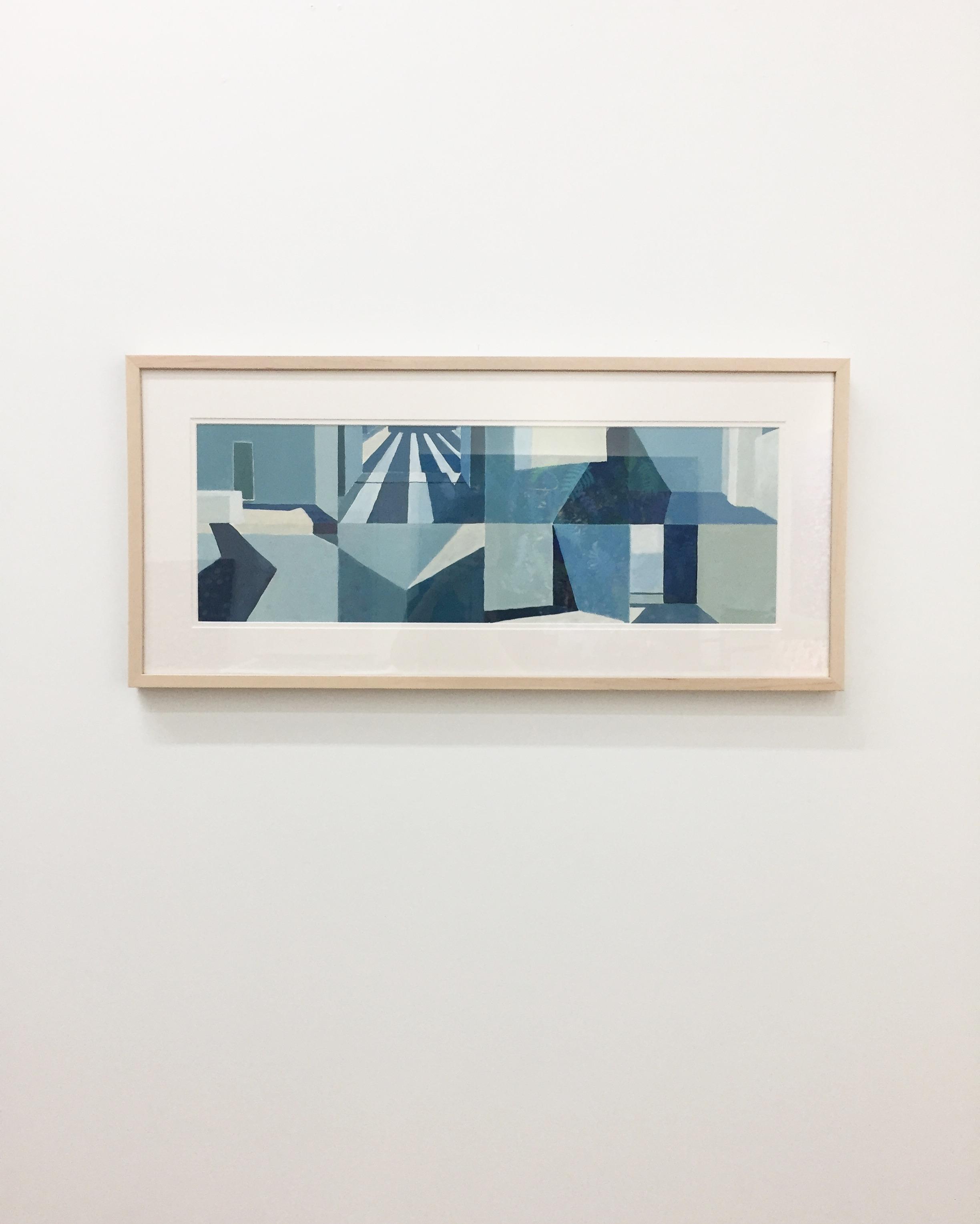 """Blue on Blue , 2014, Acrylic on board,12"""" x 32"""""""