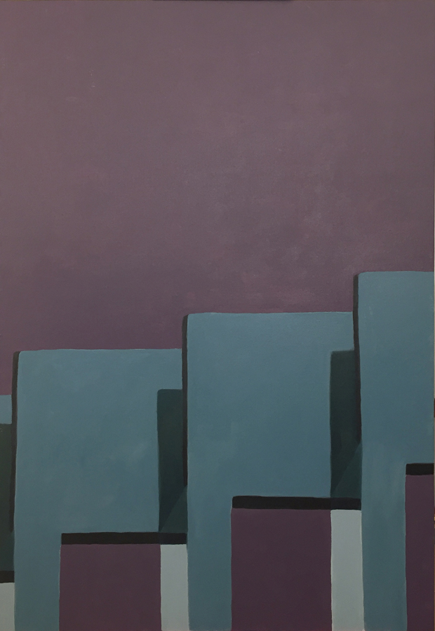 THE LINE UP III , 2019, Acrylic on panel, 44 x 30, private collection