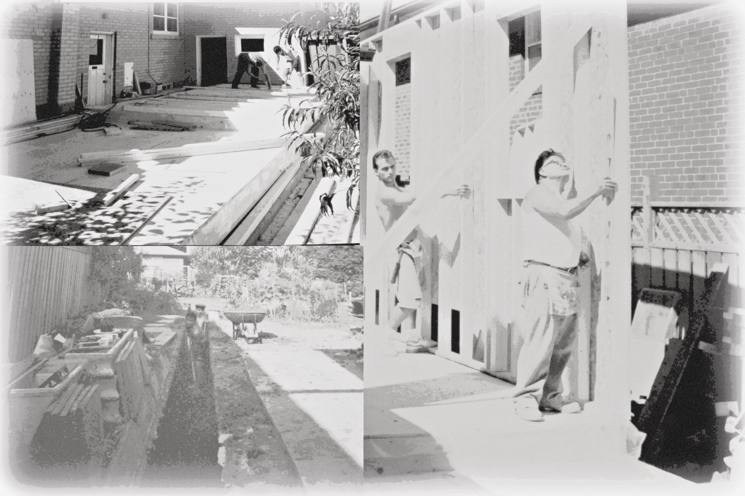 Above:  Sandro, in his teenage years, working with his father on his first major construction project; his home.