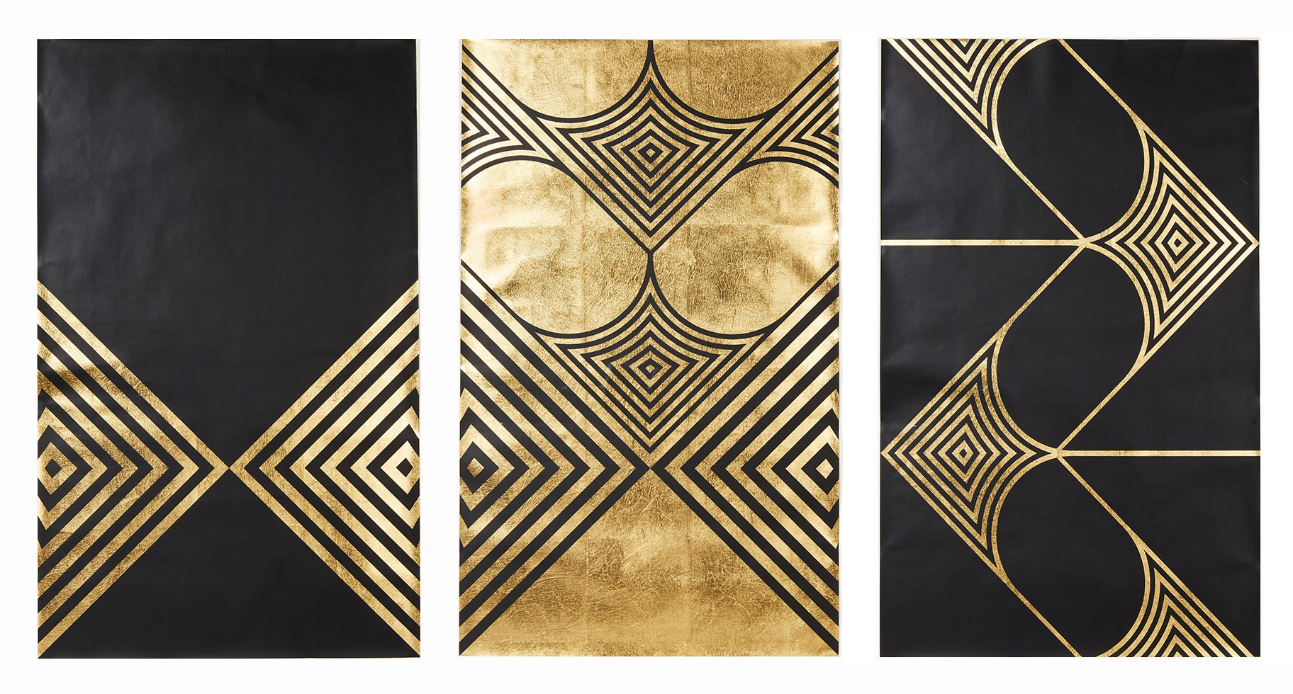 "Arrows, I, II, III,     2016. Screen print. Limited edition 50. Ink, gold leaf paper. Each panel measures 27.25"" x 41.5"".  Inquire for pricing"