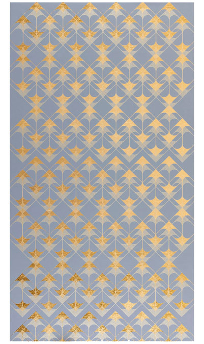 "Crossing Arrows (Grey)  ,     2016 Screen print. Limited edition 50. Ink, gold leaf paper. 31"" x 49.25"".  Inquir e"