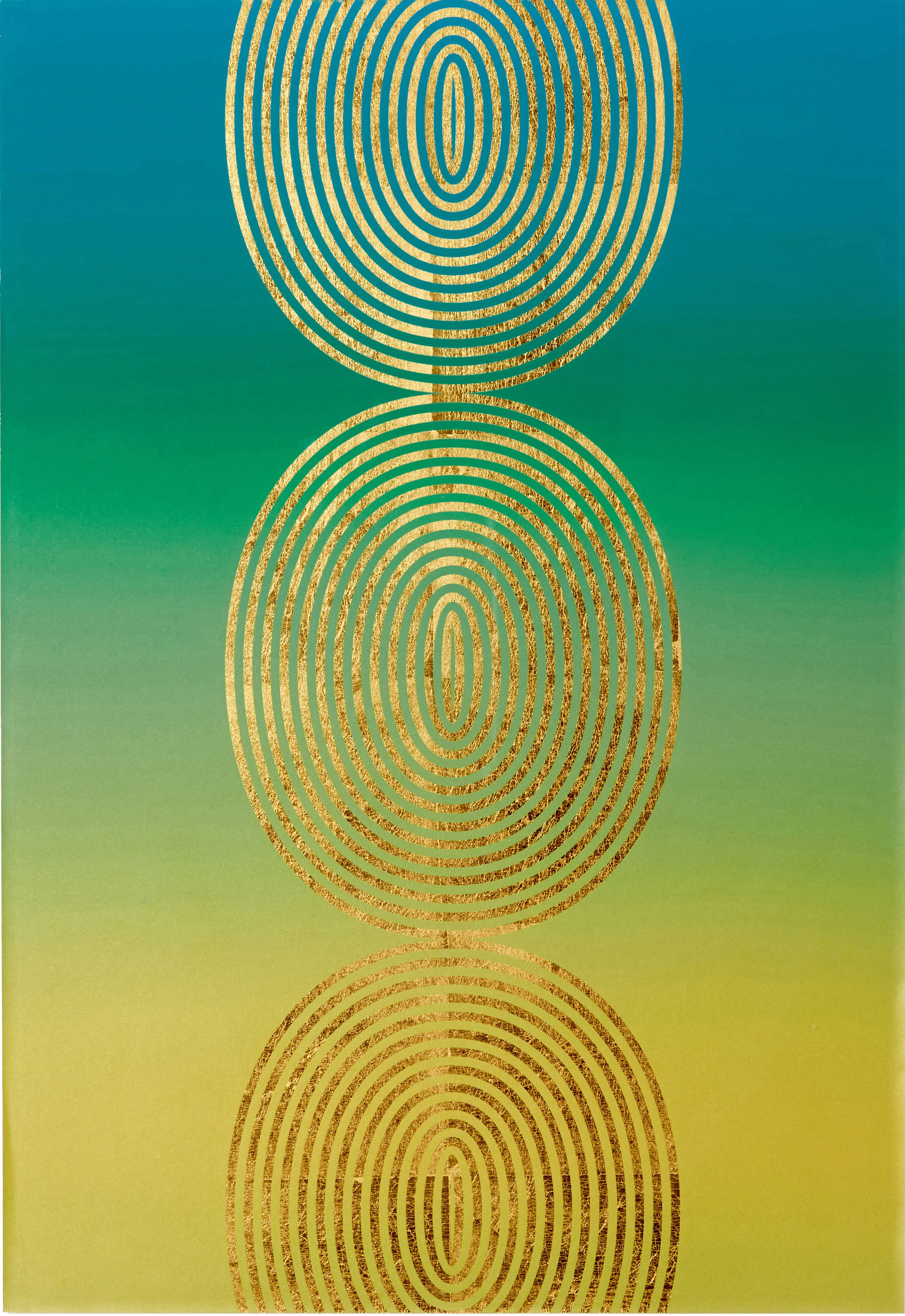 "Ombré Coils,   2016 Screen print. Limited edition 50. Ink, gold leaf paper. 22"" x 32"".  Inquire"