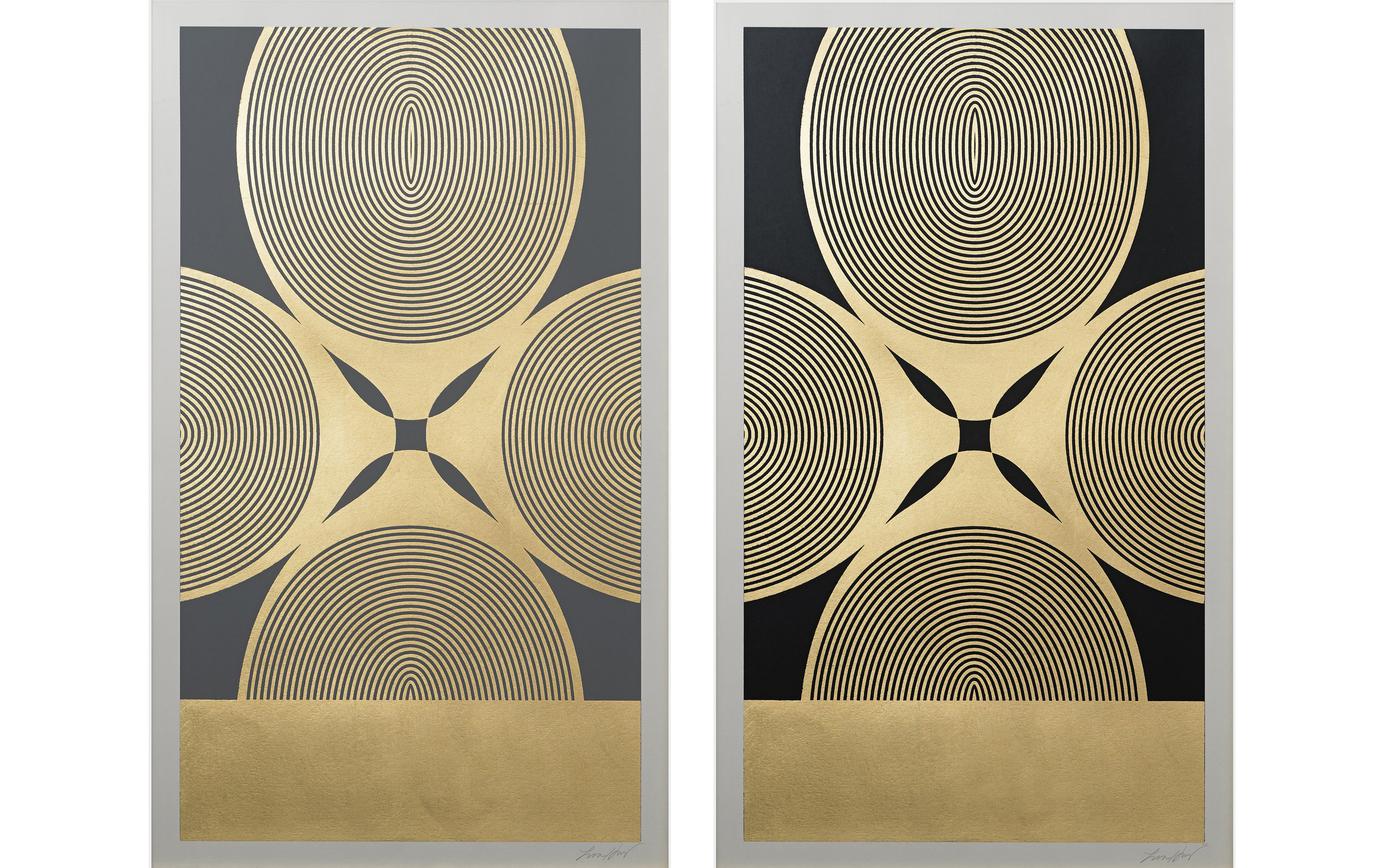 "Royal Palm (Grey, Black)  , 2015.   Screen print. Ink, gold leaf. 15"" x 25"".  Inquire"