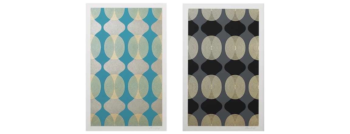 """Hourglass Beads (Turquoise, Grey)  , 2015.   Screen print. Ink, gold leaf. 13"""" x 20"""".  Inquire"""