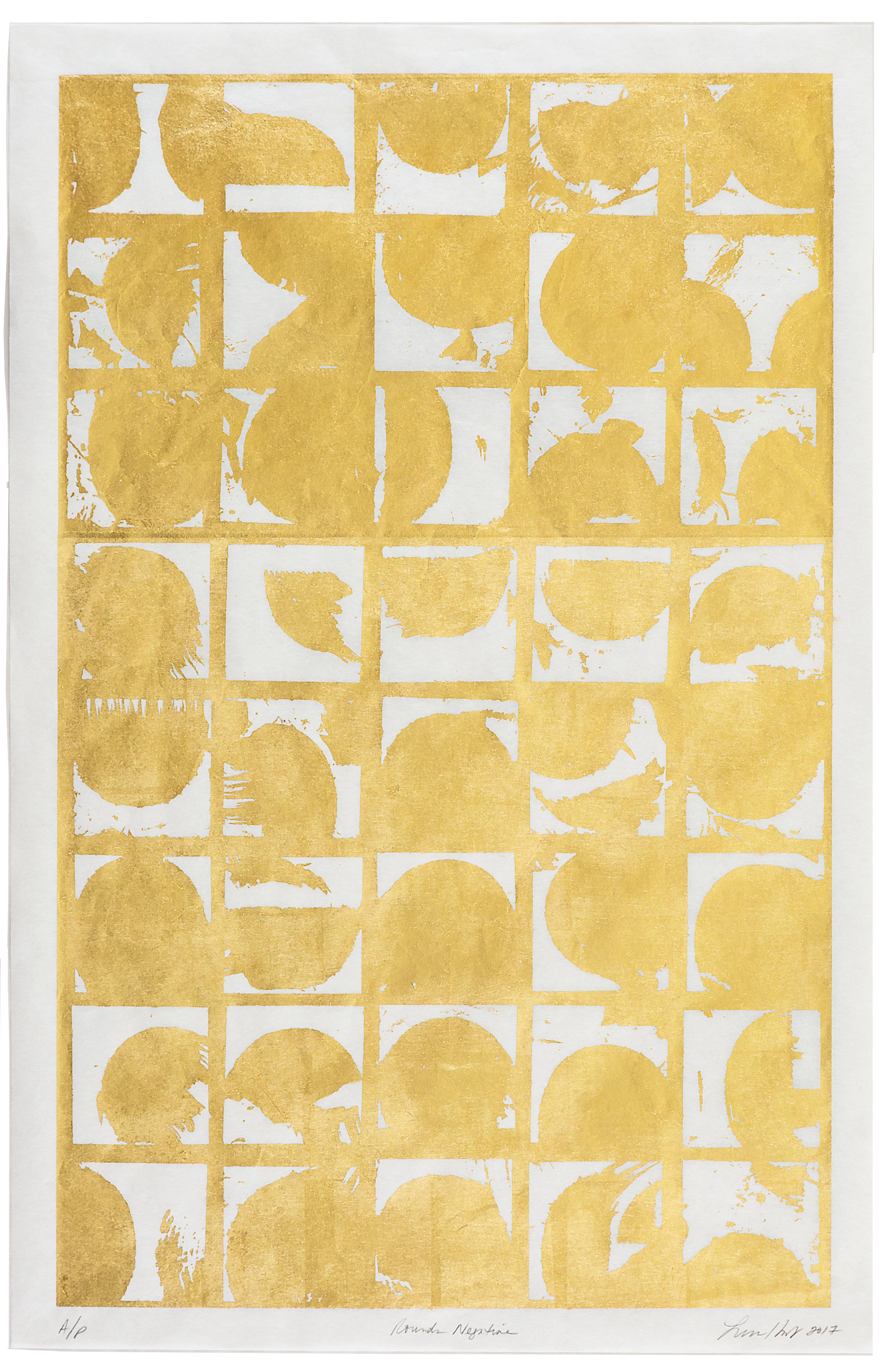 "Rounds Negative,   2017 Screen print. Limited edition 10. 24K gold leaf, Misu Rice Paper. 22"" x 32""  Inquire"