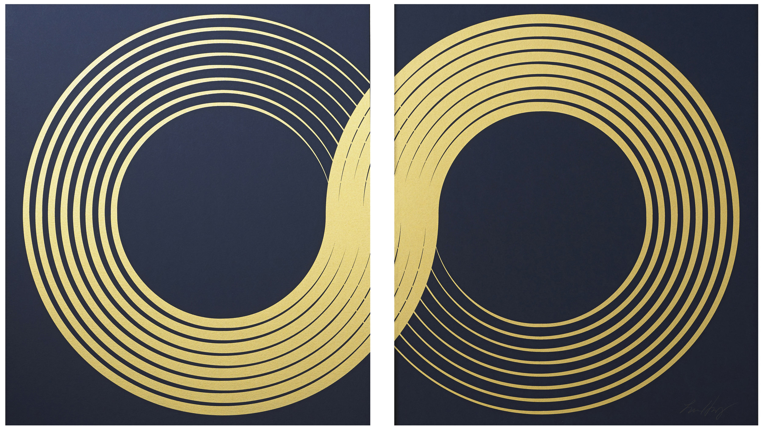 "Infinity Diptych,   2016 Screen print. Limited edition 50. 24K gold leaf, paper. Each panel measures 26"" X 30"".  Inquire for pricing"